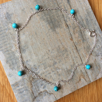 Sterling Silver and Turquoise Anklet, sz 9.5 inches