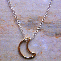 Gold Filled Crescent Moon on Sterling Silver Pendant
