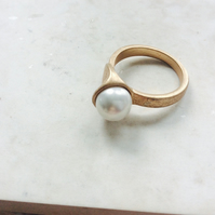 SALE Gold and Pearl Cocktail Ring, one off design