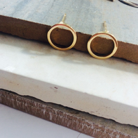 SALE Gold Plated Circle Stud Earrings
