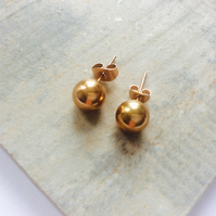 Gold Stud Earrings 8mm