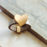 Grey leather and gold heart ring, only one available