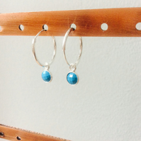Sterling Silver Hoops with Turquoise Drops