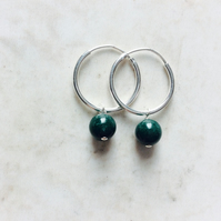 Sterling Silver Hoops with Green Jade beads