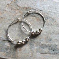 Sterling Silver 925 25mm Hoops with Sterling Silver Ball Beads