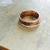 Rose Gold Plate and Crystal Love Stacking Rings