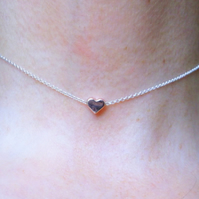 Sterling Silver Choker with Floating Rose Gold Plate Heart