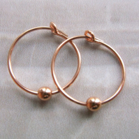 Rose Gold Filled Hoops 15mm with balls