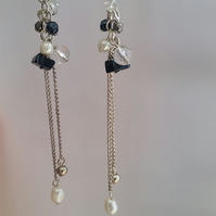 Long Drop Earrings with black and clear beads and pearls.