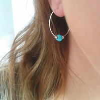 25mm Sterling Silver Hoops with Turquoise and Sterling Silver Beads
