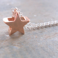 Rose Gold Vermeil Star on Sterling Silver Chain