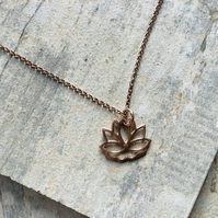 Rose Gold Vermeil Lotus Flower Pendant