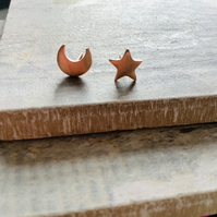 Rose Gold Plated Star and Moon Stud Earrings