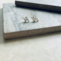Silver Plate Lightning Bolt Stud Earrings