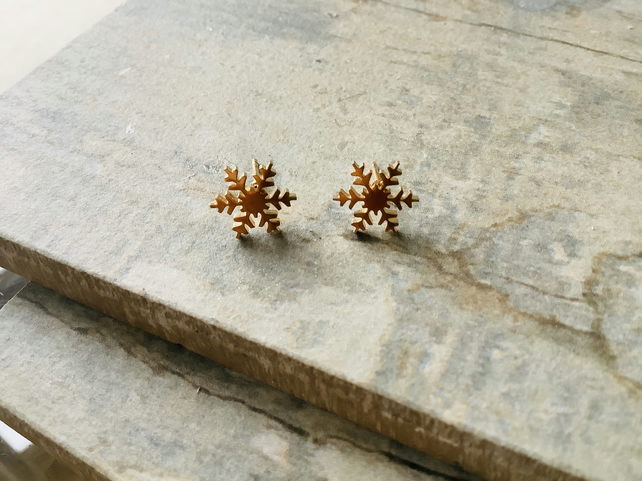 Gold Plate Stainless Steel Snowflake Stud Earrings