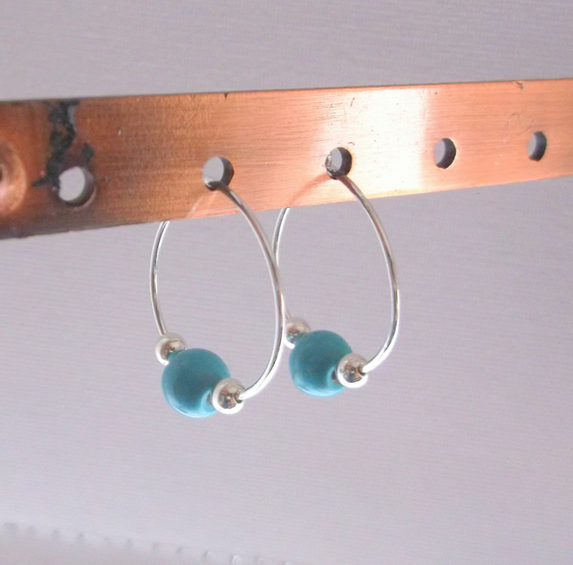 Sterling Silver 18mm with Turquoise and Sterling Silver Balls.