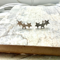 Silver Plate Starburst Stud Earrings.