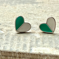 Turquoise and White Heart Stud Earrings