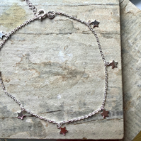 Sterling Silver Star Charm Anklet