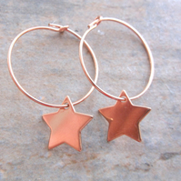 Rose Gold 15mm Filled Hoops with Rose Gold Vermeil Star Charms