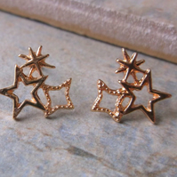 Rose Gold Plate Star Cluster Stud Earrings