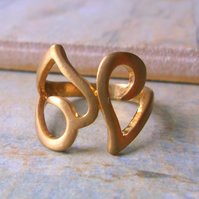 SALE 60% off. Limited Edition Gold hearts cocktail ring
