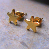 Gold Plate Star Stud Earrings