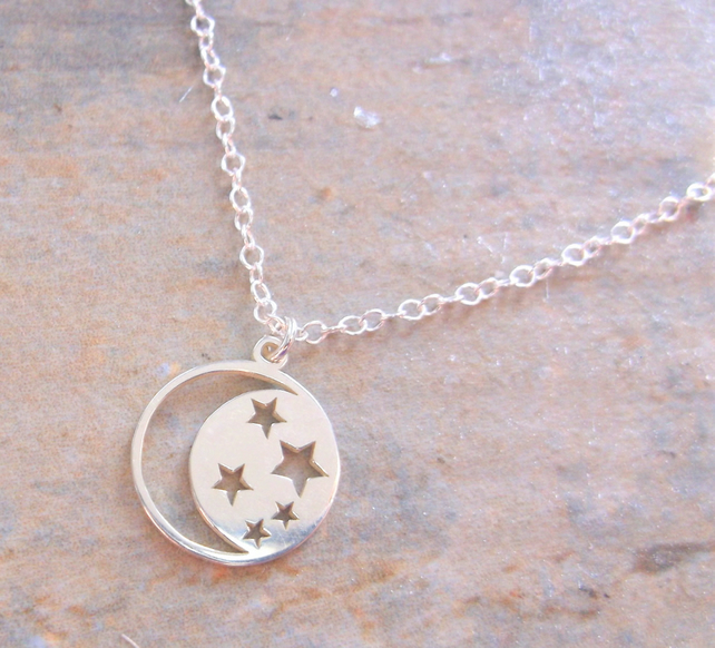 Sterling Silver Star and Moon Pendant