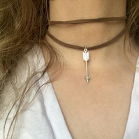 Brown Suede and Arrow  Choker Necklace