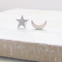 Silver Stainless Steel Star and Moon Stud Earrings