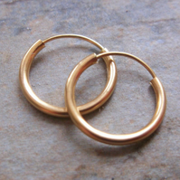 14k Gold Hoop 12m  Earrings