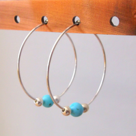 Sterling Silver 25mm Hoop Earrings with Turquoise