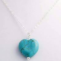 Turquoise Heart with Swarovski Crystal Pendant