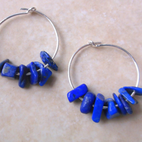 Sterling Silver Hoop Earrings with Lapis Lazuli Chips
