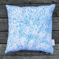 Blue 'Marks' Screen printed cushion