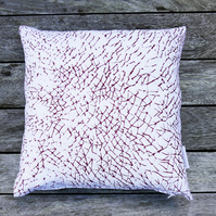 Red 'Marks' Screen printed cushion