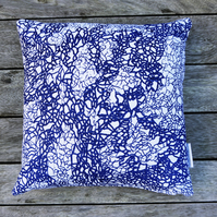 Navy 'Channels' Screen printed cushion