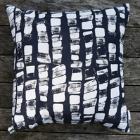 Large Grey, White and Silver 'Hebble' Screen Printed Cushion