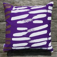 Large Violet and Copper 'Brooklyn Stripe' Screen Printed Cushion