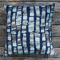 Large Navy and Copper 'Hebble' Screen Printed Cushion