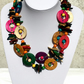 Multicolour Wooden Necklace; Handmade, Long, Wooden Beaded Necklace