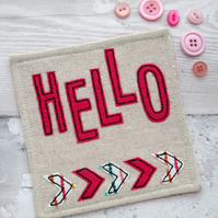 Fabric Coaster - Motivational - Hello Coaster - Pink Drinks Coaster