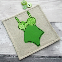 SALE - Fabric Coaster - Swimsuit Coaster - Appliqué Coaster