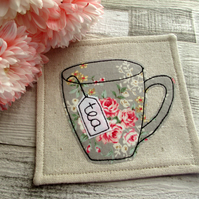 Coaster - Floral Coaster - English Rose - Fabric Coaster