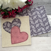 Set of Two Heart Coasters - Fabric Coaster Set