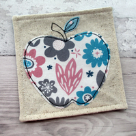 Fabric Apple Coaster - Thank You Gift - Modern Coaster