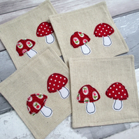 SALE - Toadstool Coasters - Fabric Coasters - Set Of 4 Coasters