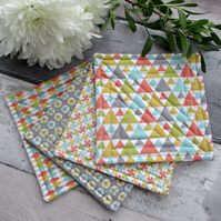 Quilted Coasters, Fabric Coasters, Modern Coasters
