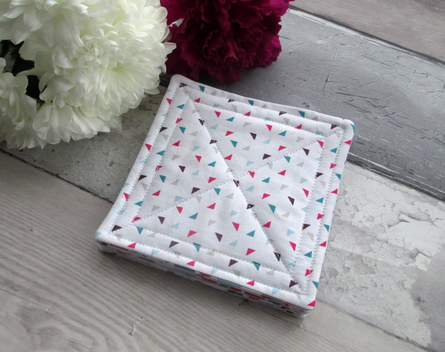 Set Of 6 Quilted Fabric Coasters, Modern Geometric Fabric Coasters