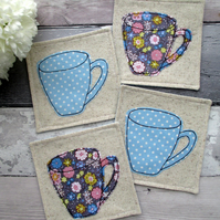 A Set Of 4 Mug Coasters, Housewarming Gift